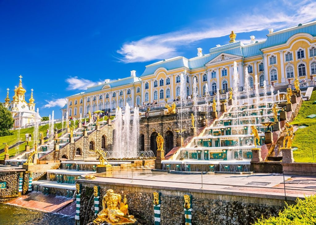 Grand Cascade and sea canal in Peterhof, St Petersburg, Russia